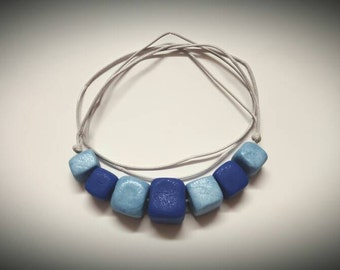 Cubes - Handmade Polymer Clay Adjustable Necklace