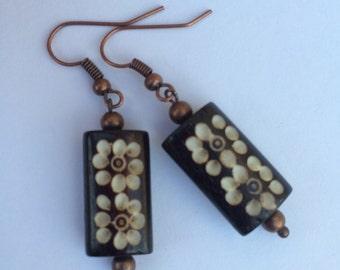 Bamboo wood drop earrings