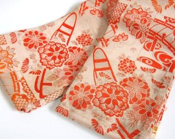 obi belt/Japanese belt/band/for kimono robe/traditional /orange/vintage