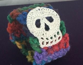 Rainbow Cuff with White Skull
