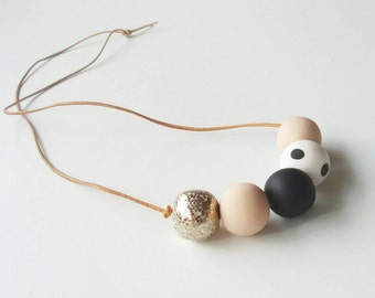Neutral and glitter statement necklace beige white black copper gold leather scandi