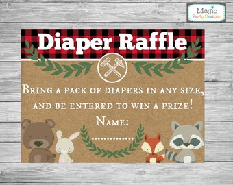 Baby shower diaper raffle tickets, Lumberjack baby shower diaper raffle tickets, diaper raffle cards, Diaper raffle insert cards