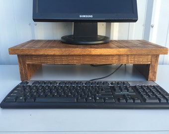 "21"" Computer Monitor Riser Stand in Solid Rustic Pine with Country Medium Finish"