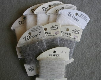 Rainbow Wisper  Nine assorted Gray and White 20 yard cards