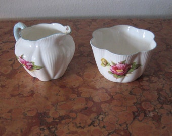 Vintage Shelley Begonia Pattern Sugar Bowl Creamer Set As Is! #BV