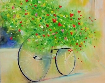 Bicycle art,Bicycle wall art,Retro Bicycle,Bicycle Painting,Bicycle wall decor,Pretty picture,Best picture, Painting  for women