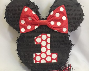 First Birthday Mouse Ears Pinata with Red Bow Pull Strings Style