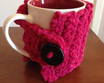 Pink suede mug hug