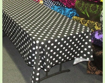 Polka dot tablecloth etsy for Black polka dot tablecloth