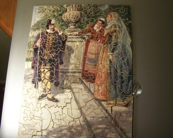 Vintage Wooded Puzzle , Twelfth Night Shakespeare Jolly Jigsaw by Don Simonds