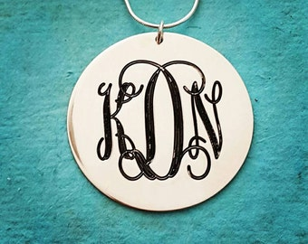 Custom Made Sterling Silver XL Monogram Pendant /  Monogram Necklace / Monogram on XL Tag / Custom Silver Monagram Necklace / Free Shipping!