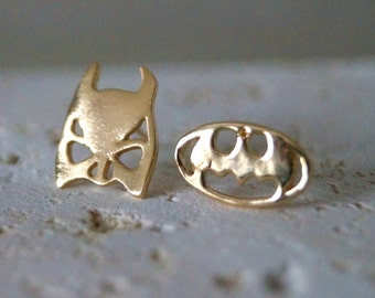 Batman & Robin Stud Earrings - Gold Plated