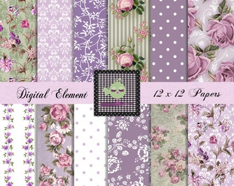 Digital Paper, Digital Scrapbook Paper, Floral Lilac Digital Paper, Lavender Rose Paper, Shabby Chic Vintage Wallpaper Set. No. V7.20