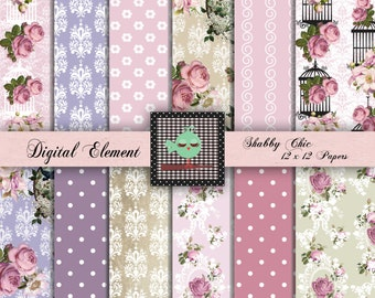 Digital Paper, Digital Scrapbook Paper, Digital Shabby  Rose Paper, Lilac and Pink  Digital Paper, Lavender Rose Digital Paper. No. p.74.DA