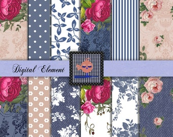 Digital Scrapbook Paper, Digital Paper,  Pink Shabby Rose Paper, Shabby Chic Roses, Vintage Scrapbook Printable Paper. No P117.DA
