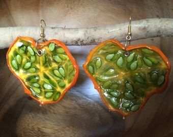 Real Kiwano (Horned) Melon Earrings