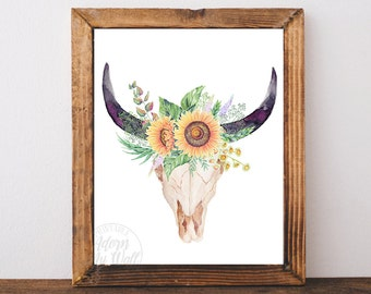 Bull skull print, tribal printable, cow, wall art, sunflowers, floral, instant download, printable, skull print, skull printable, cow skull