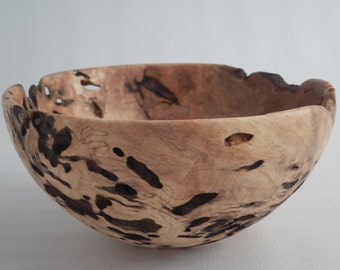 Wooden Bowl Carpenter Ant Holes Maple Burl Hand Turned One Of A Kind