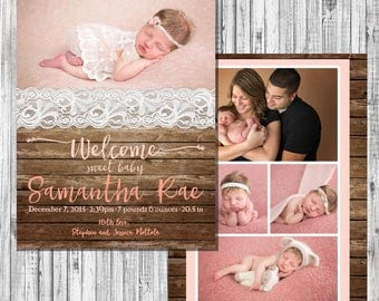 Wood and Lace Birth Announcement