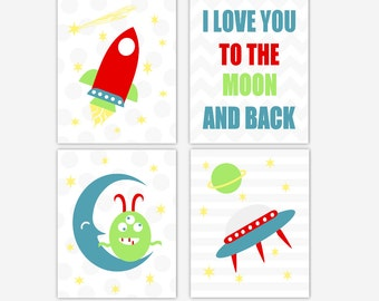 Baby Boy Nursery Art Blue Red Green Space Monster Alien Spaceship Rocket I Love You to The Moon and Back Stars Toddler Canvas Prints Decor
