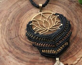 Macrame necklace bronze lotus flower