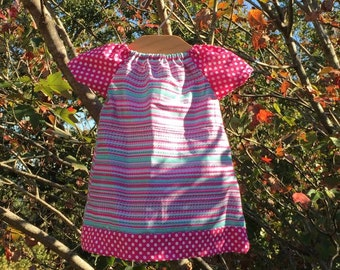 Pink and Turqouise Short Sleeve Peasant Dress
