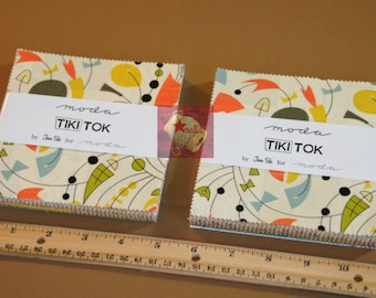 Lot 2 Moda Charm Pack Tiki Tok by Jenn Ski