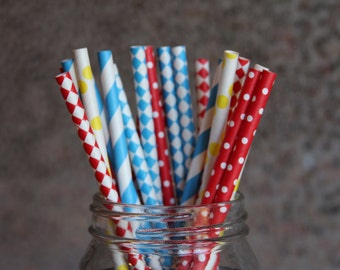 Circus Time Paper Drinking Straws/Kids Birthday Party Straws/Red Straws/Blue Paper Straws/Circus Themed Straws