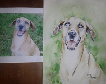 10X14 or 12X16 Pet Portrait Made to Order Custom Watercolor Painting Dog Lover Cat or Any Other Pet Gift Keepsake