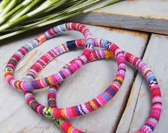 3 pink ethnic bangles