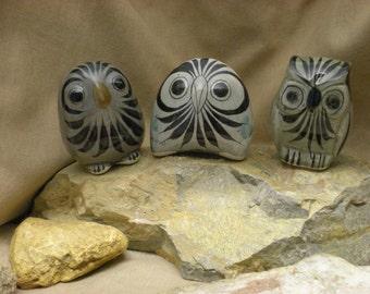CLEARANCE! Three Vintage Tonala Owls Mexico