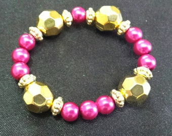 Hot pink glass pearl beaded bracelet