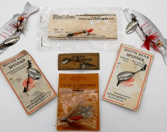 Seven Miscellaneous Fishing Lures on Cards