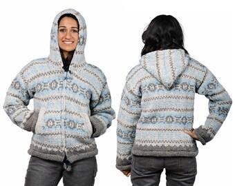 Womens Wool Hoodie, Hand Knit Wool Winter Coat - Blue Vintage Pattern - 2374B
