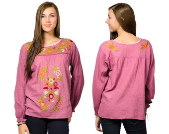 Long Sleeve Embroidered Peasant Blouse - Rose - 3109P