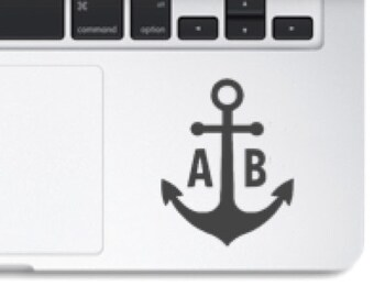 Laptop decal, laptop vinyl decal, anchor decal, anchor vinyl decal, monogram anchor decal, custom anchor decal, custom monogram decal