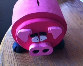 Perfectly Pink piggy bank--Wooden