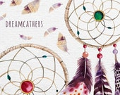 Watercolor boho dreamcatchers with feathers. Wedding digital Clip art collection. Individual PNG files. Hand Painted rustic DIY.