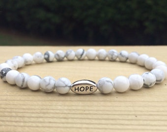 Howlite Bracelet with Silver Hope, Joy or Peace Bead/Howlite Bracelet/Women's Bracelet/Ladies Bracelet/UK Jewellery/Yoga Beads