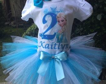 Elsa Frozen Blue Birthday Tutu Outfit