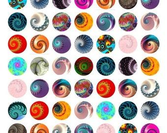 """Fractal Spiral 1"""" Images-Collage Images-Bottle Cap Art Images-Printable Bottle Cap Art-Images for Jewelry Making-Bezel Setting-Resin Art-DIY"""
