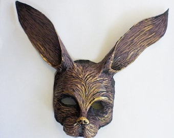 Rabbit Mask, hare, bunny mask, brown and gold, wearable, unique mask, paper mache