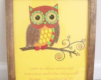 Owl Wall Art, Framed