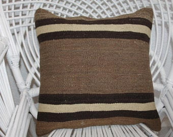 undyed Turkish wool kilim pillow 18x18 striped kilim pillow brown kilim pillow black pillow cushion cover 18x18 floor cushion case 100