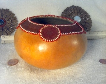 Southwest leather and Bead Gourd