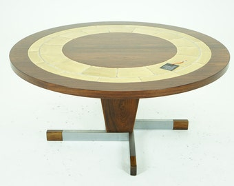 306-080 SALE! Danish Mid Century Modern Rosewood Tiled Round Coffee Table