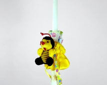 """18"""" Easter Greek Candle Lambada Decorated with Yellow Ribbons, Flowers and a Soft Bee Toy for Hair"""
