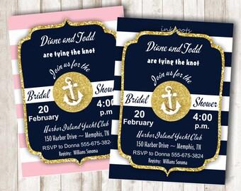 Nautical Bridal Shower Invite Printable Bridal Shower Invitation Navy and Gold Shower Invite Anchor Invitation Nautical Invitation BSNA01