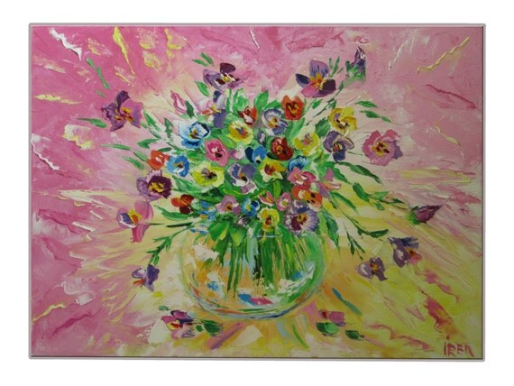 Flower painting Home decor Painting Handmade Floral art Style Pink Pansy flowers Gift for her Bright Womens gift Textured painting OOAK