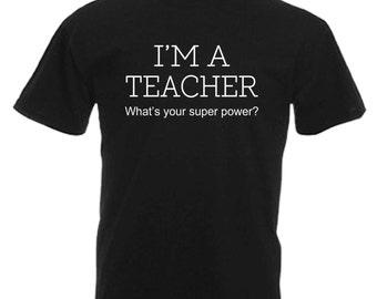 Teacher Adults Mens Black T Shirt Sizes From Small - 3XL